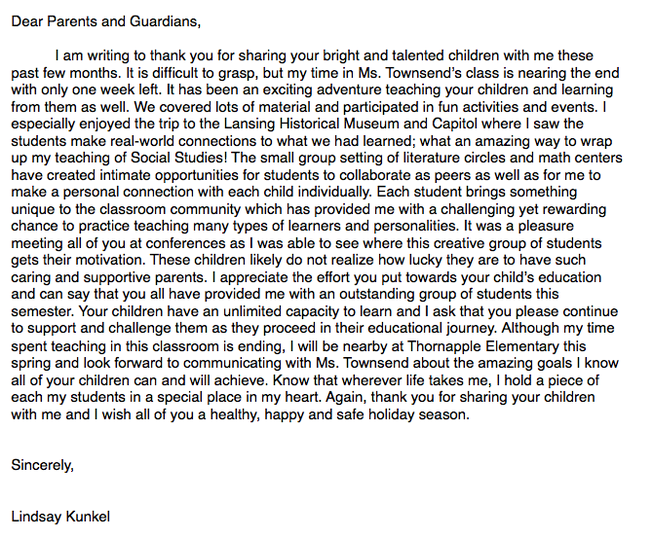 i sent this goodbyethank you letter home to each parent at the end of the semester fall 10